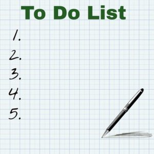 the list printed on paper