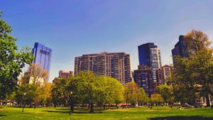 Boston park and buildings