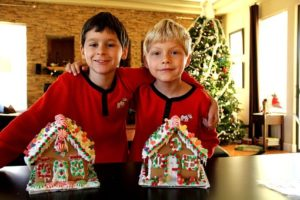 Two boys with Christmas cake