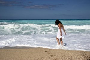 Girl beach waves